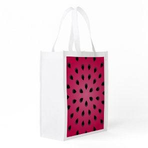 Red watermelon chunk with seeds reusable grocery bag