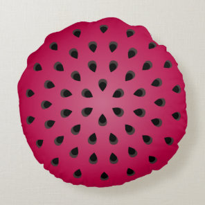 Red watermelon chunk with seeds round pillow