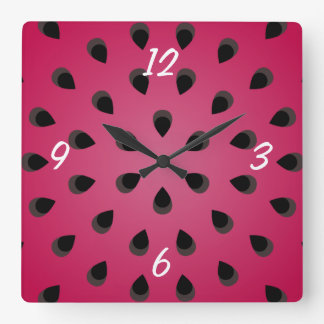 Red watermelon chunk with seeds square wall clock
