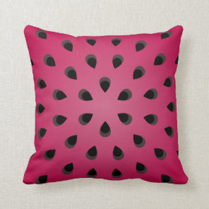 Red watermelon chunk with seeds throw pillow