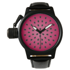 Red watermelon chunk with seeds wrist watch