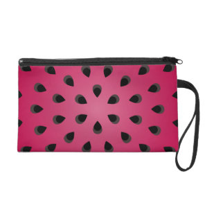 Red watermelon chunk with seeds wristlet purse