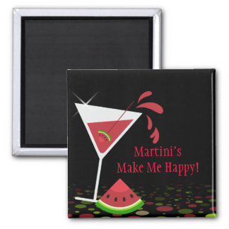 Red Watermelon Martini Cocktail Funny Magnet