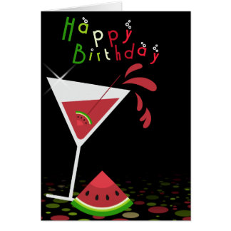 Red Watermelon Martini Cocktail Greeting Card