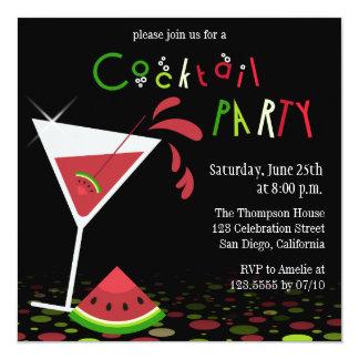 Red Watermelon Martini Cocktail Party Invitation