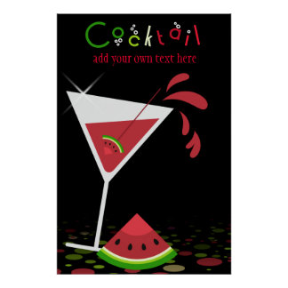 Red Watermelon Martini Cocktail Party Poster