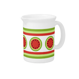 Red Watermelon Slice and Stripes Pitcher