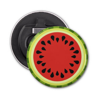 Red Watermelon Slice Button Bottle Opener