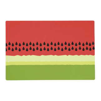 Red Watermelon Slice Laminated Placemats