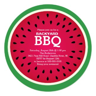 Red Watermelon Summer BBQ Invitation