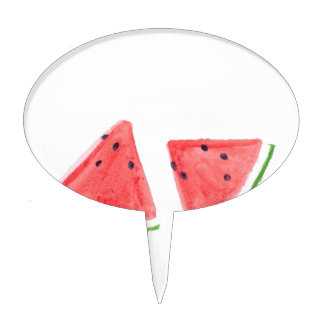 Red Watermelons fruit painting Cake Topper
