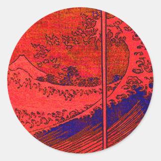 red wave classic round sticker