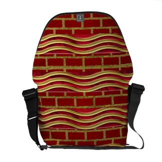 Red Waves of Bricks Rickshaw Messenger Bag