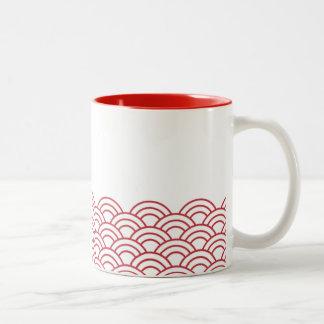 "Red Waves ""Seigaiha"" WAGARA Two-Tone Coffee Mug"