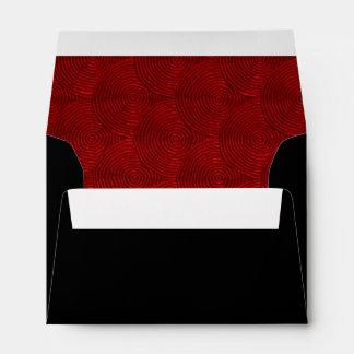 Red Wavy Circles Liner Fancy Black Envelopes