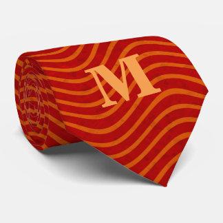 Red Wavy Line Pattern Monogram Neck Tie