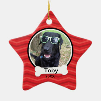Red Wavy With Bone Star Photo Pet Ornament