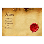 RED WAX SEAL ANTIQUE PARCHMENT Monogram Business Cards