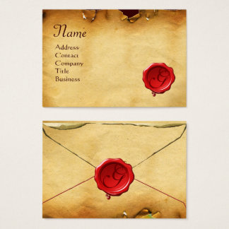 RED WAX SEAL ANTIQUE PARCHMENT Monogram Business Card