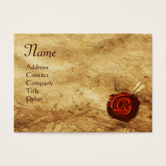 RED WAX SEAL ,ANTIQUE PARCHMENT Monogram Business Card