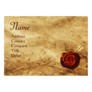 RED WAX SEAL ,ANTIQUE PARCHMENT Monogram Large Business Cards (Pack Of 100)