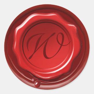 RED  WAX SEAL Monogram Classic Round Sticker