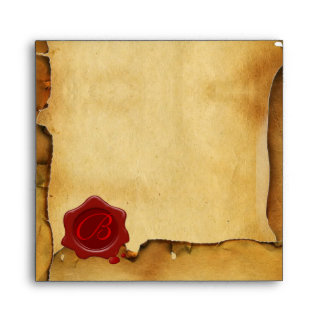 RED WAX SEAL MONOGRAM PARCHMENT ENVELOPE