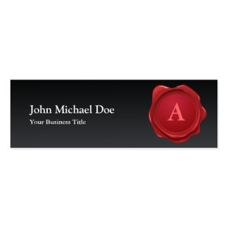 Red Wax Seal Monogram Profile Card Double-Sided Mini Business Cards (Pack Of 20)