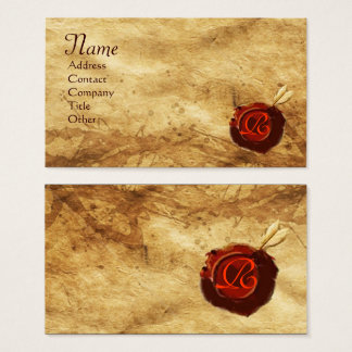 RED WAX SEAL PARCHMENT Monogram Business Card