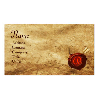 RED WAX SEAL PARCHMENT Monogram Double-Sided Standard Business Cards (Pack Of 100)