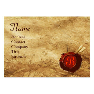 RED WAX SEAL PARCHMENT Monogram Large Business Cards (Pack Of 100)