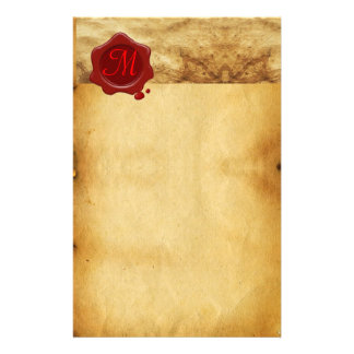 RED WAX SEAL PARCHMENT Monogram Stationery