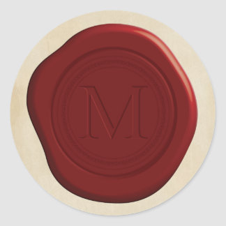 Red Wax Seal Round Stickers
