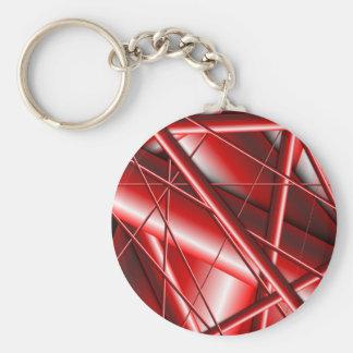 red web basic round button keychain