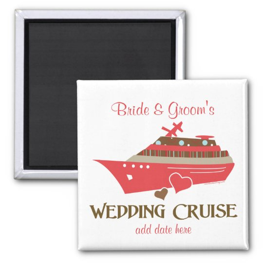 Red Wedding Cruise Favors 2 Inch Square Magnet