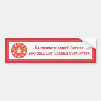 Red Wedding Decorative Floral Tiles Bumper Sticker