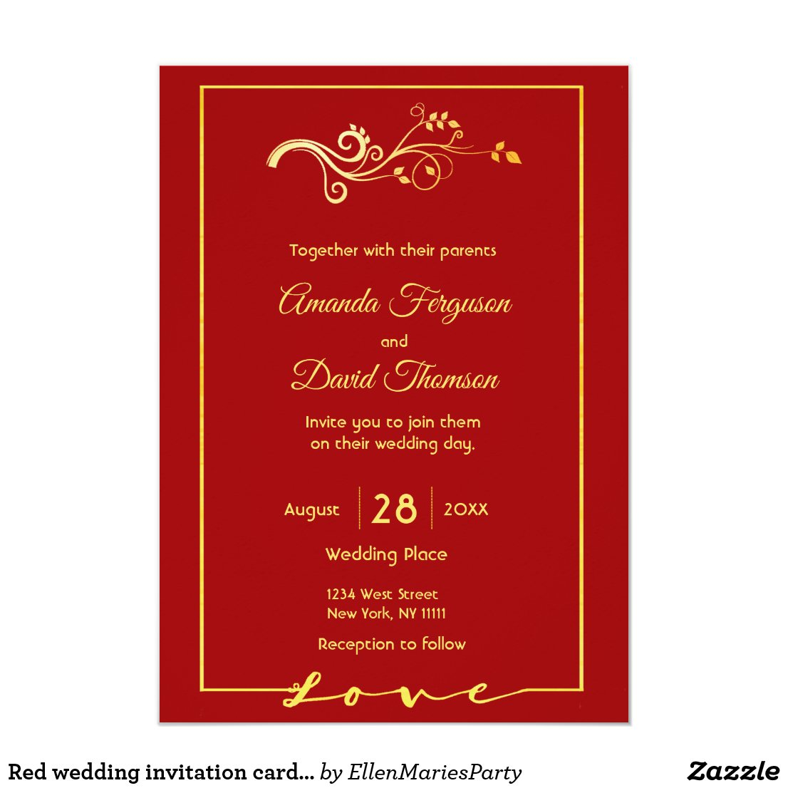 Red wedding invitation card with faux gold decor