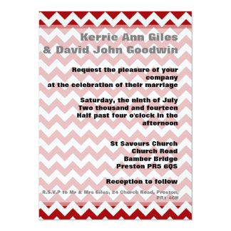 Red Wedding Invitations - Chevron Dark Red Invite 14 Cm X 19 Cm Invitation Card