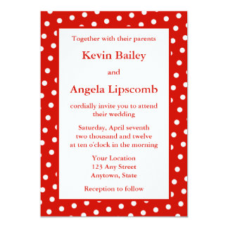"""Red Wedding Invitations or Announcements - Dots 5"""" X 7"""" Invitation Card"""