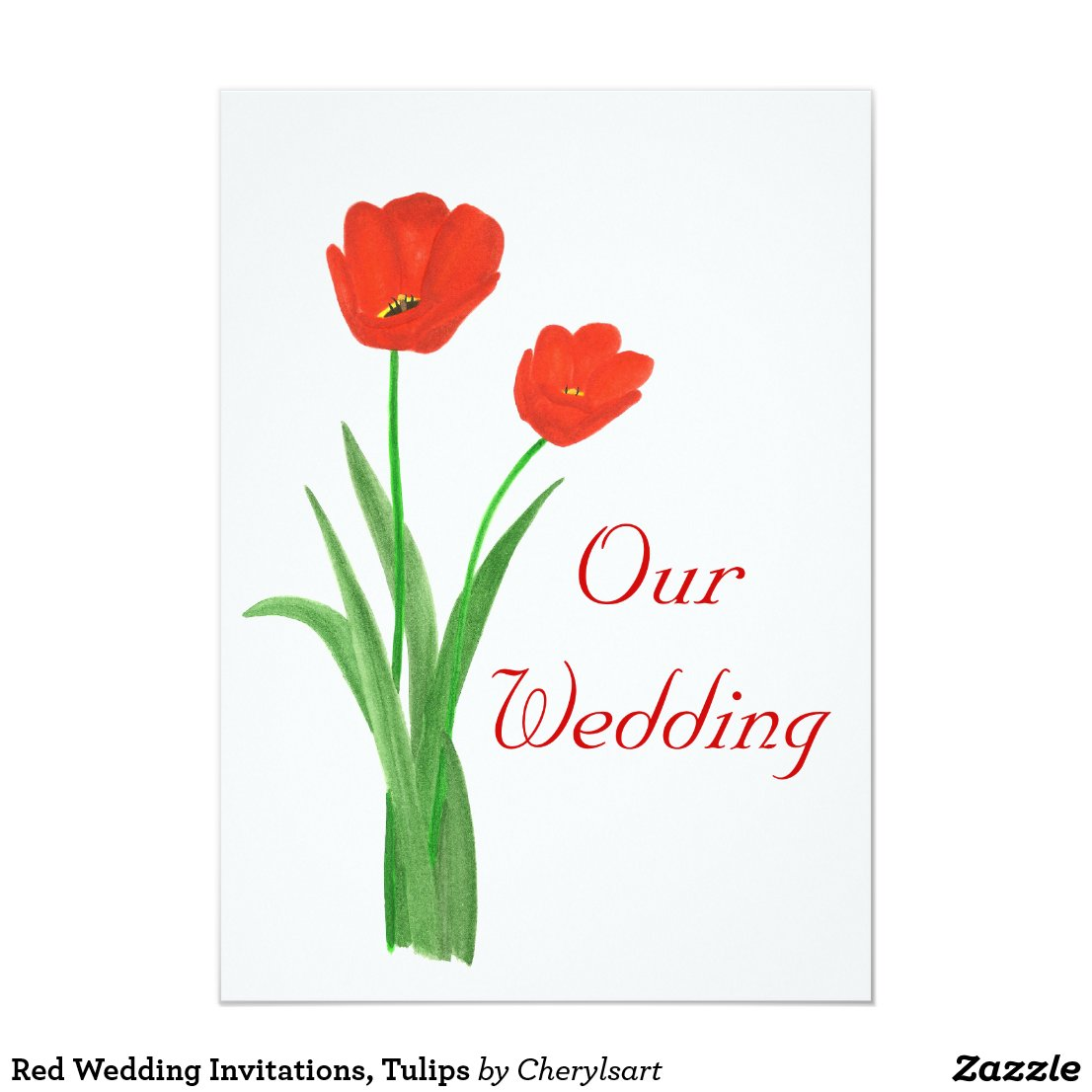 Red Wedding Invitations, Tulips Card