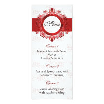 red wedding menu card