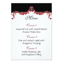 red wedding menu card