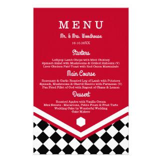 Red Wedding Menu with Black Checkered Pattern