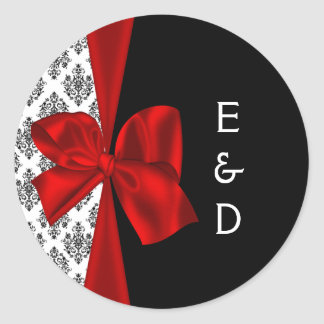 red wedding Monogram label Classic Round Sticker