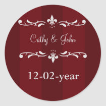 red  Wedding Monogram stickers