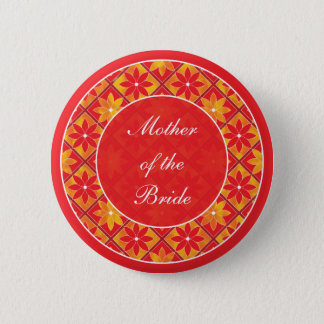Red Wedding Party Decorative Floral Tiles Button