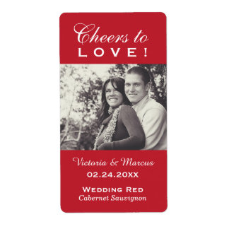 Red Wedding Photo Wine Bottle Favor Labels