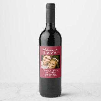 Red Wedding Photo Wine Bottle Favor Wine Label
