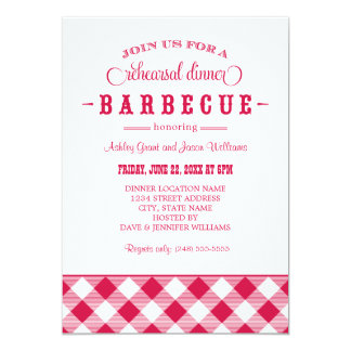 Red Wedding Rehearsal Dinner   Casual BBQ Card