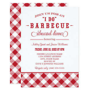 Red Wedding Rehearsal Dinner | I Do Bbq Card at Zazzle